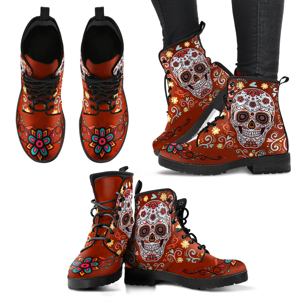 Red Sugar Skull Handcrafted Boots - JaZazzy
