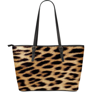 Leopard Print Leather Large Handbag