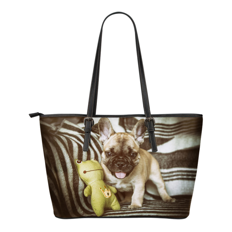 Women's French Bulldog Leather Tote - JaZazzy