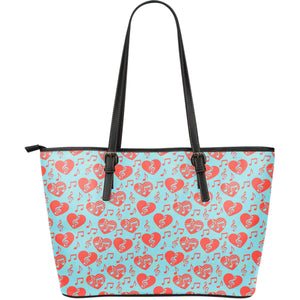 Music Hearts Large Leather Tote Bag - JaZazzy