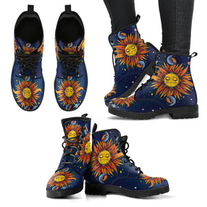 Space Sun & Moon Handcrafted Boots - JaZazzy