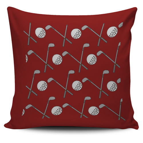 Golf Design Pillow Case - Burgundy - JaZazzy
