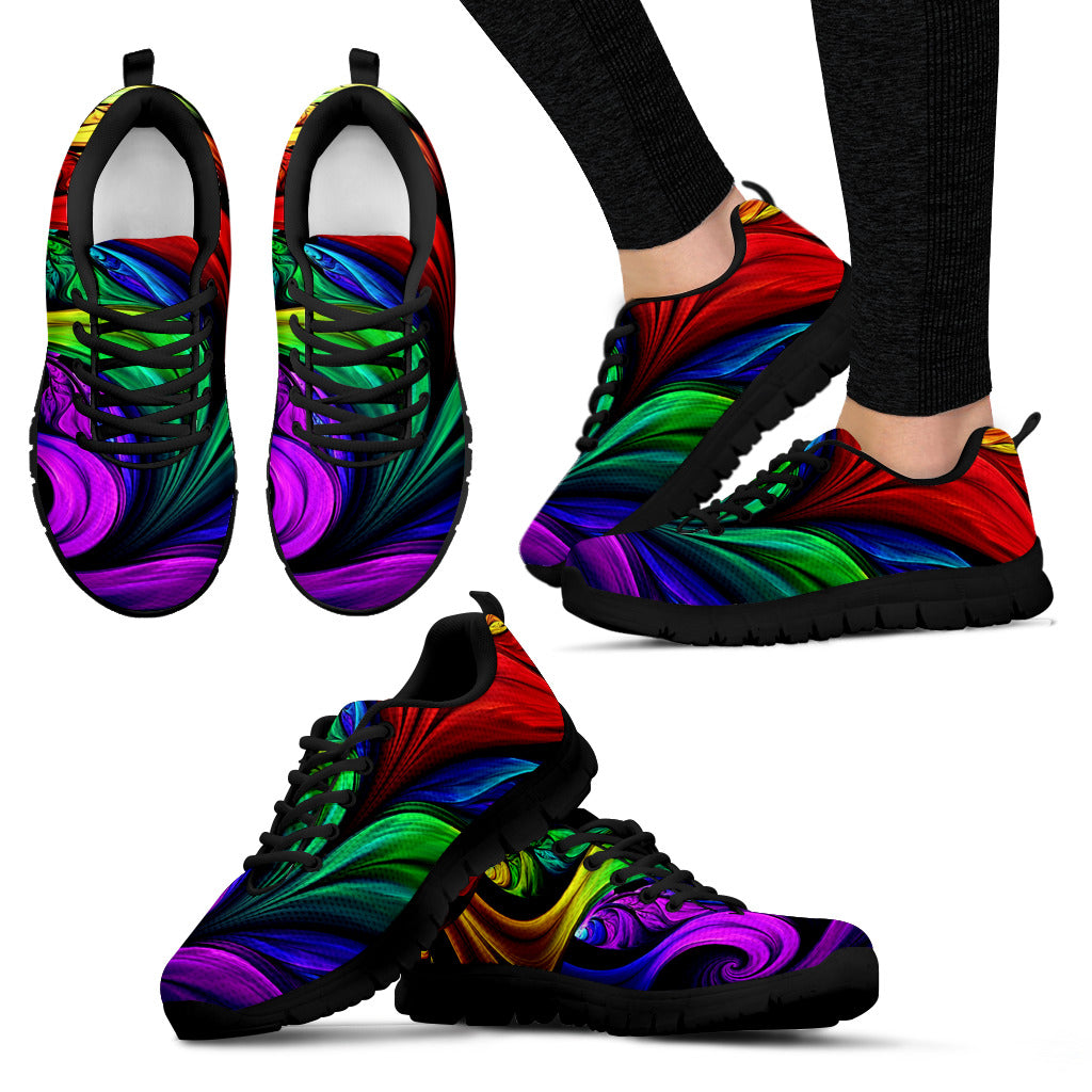 Colorful Fractal Art Handcrafted Sneakers - JaZazzy