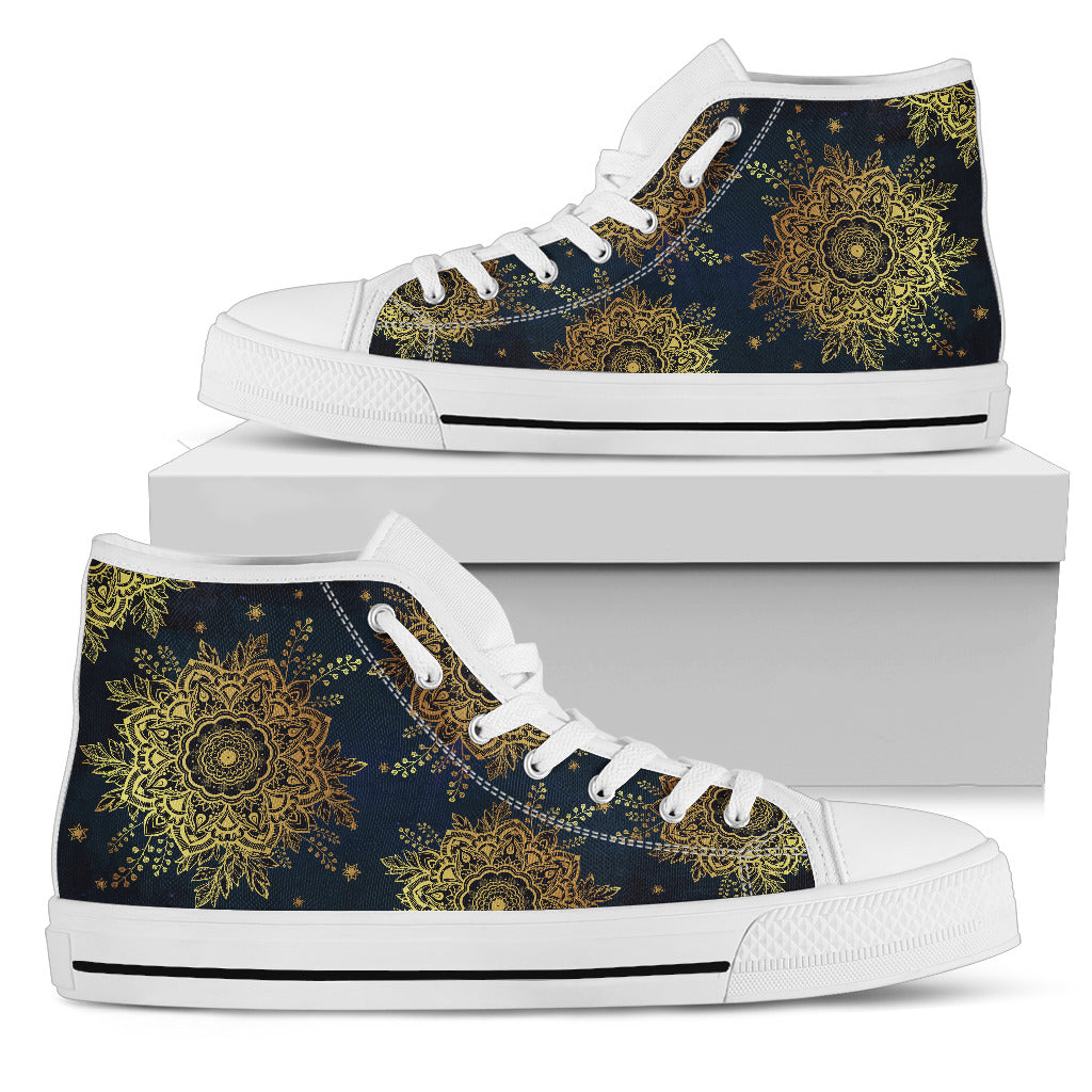 Womens Gold Lotus Mandala High Top. - JaZazzy