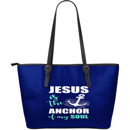 NP Jesus Is The Anchor Leather Tote Bag - JaZazzy