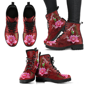 Dragonfly With Lotus Flower Handcrafted Boots V6 - JaZazzy