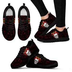 Flower Crown Skull Hand Crafted Sneakers - JaZazzy