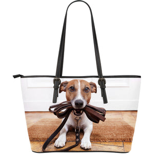 Jack Russell Dog Lovers Large Leather Tote - JaZazzy