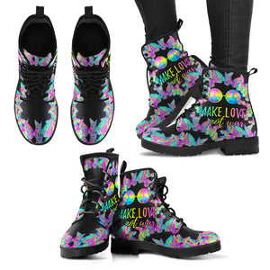 Make Love Not War Women's Leather Boots - JaZazzy