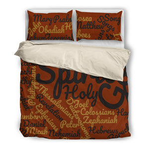 Cool Brown Holy Bible Books Beige Bedding Set - JaZazzy