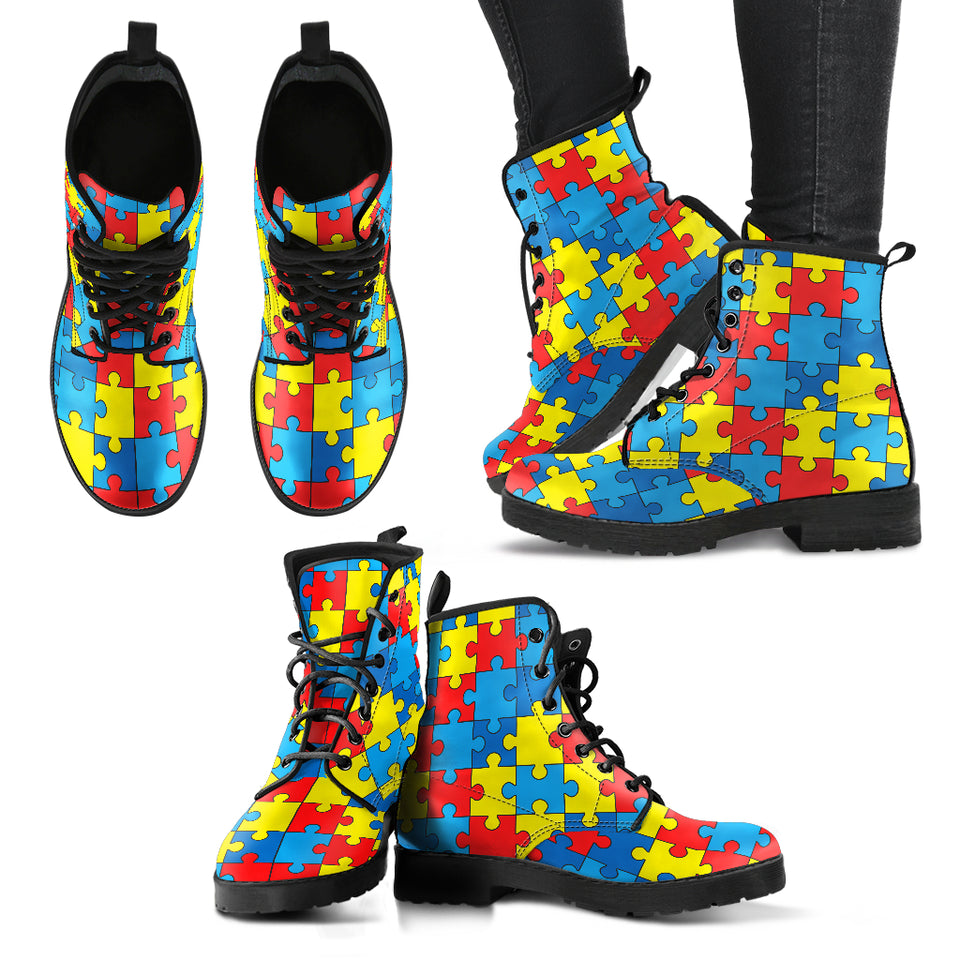 Autism Awareness Handcrafted Boots - JaZazzy