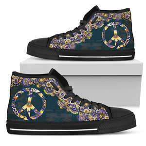 Womens Gold and Blue Peace Mandala High Top - JaZazzy