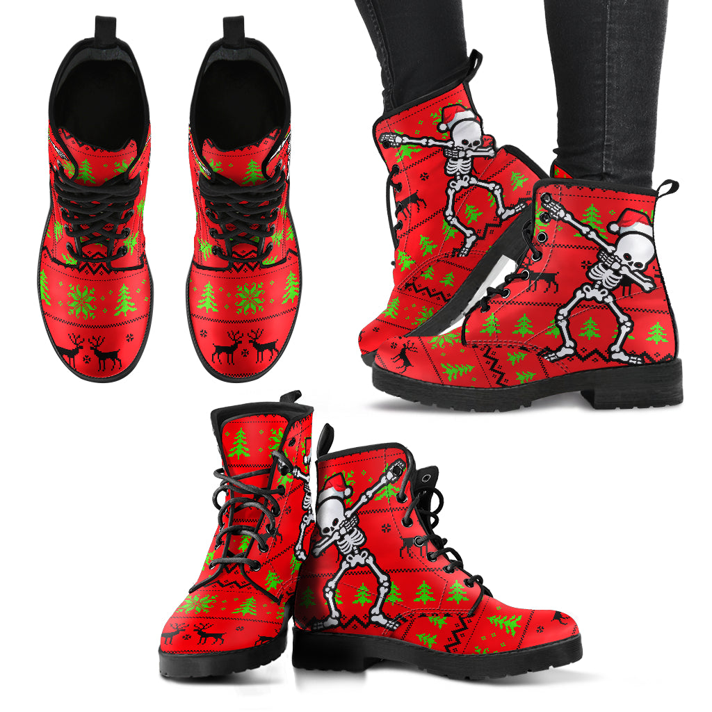 Christmas Skull Handcrafted Boots - JaZazzy
