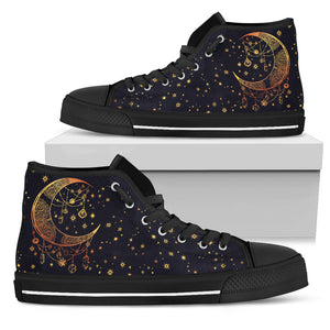 Womens Gold Moon and Stars High Top - JaZazzy
