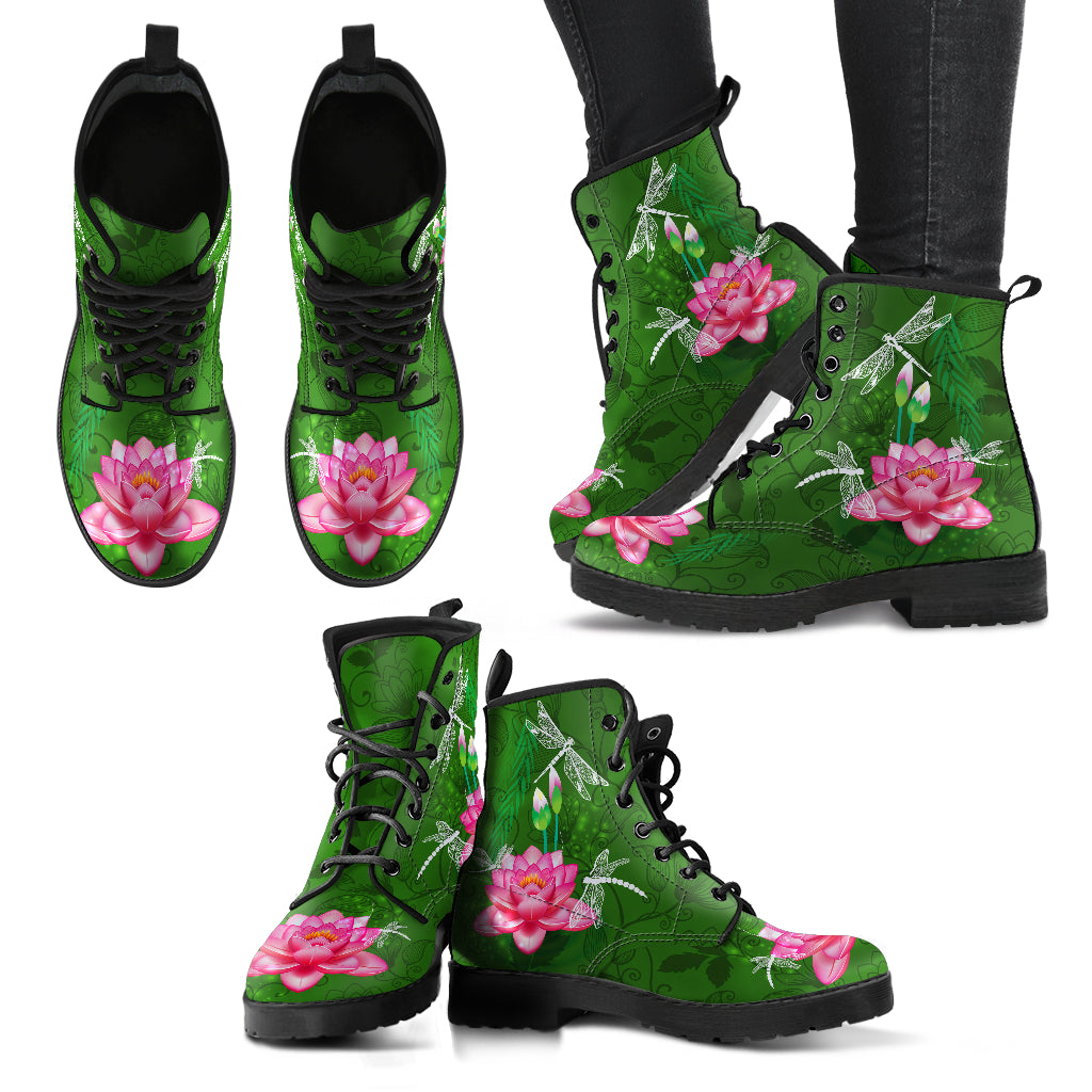 Dragonfly With Lotus Flower Handcrafted Boots V4 - JaZazzy