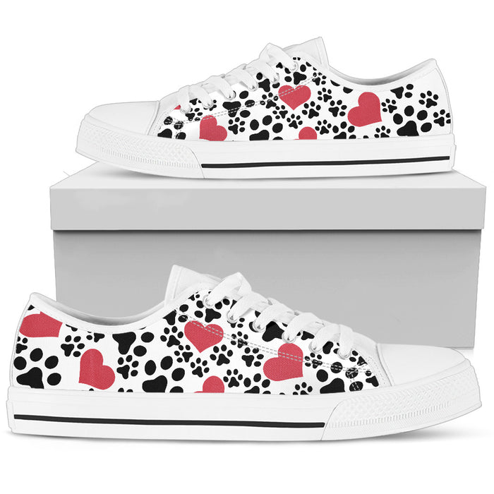 Women`s Low Top Shoes Dog Print White