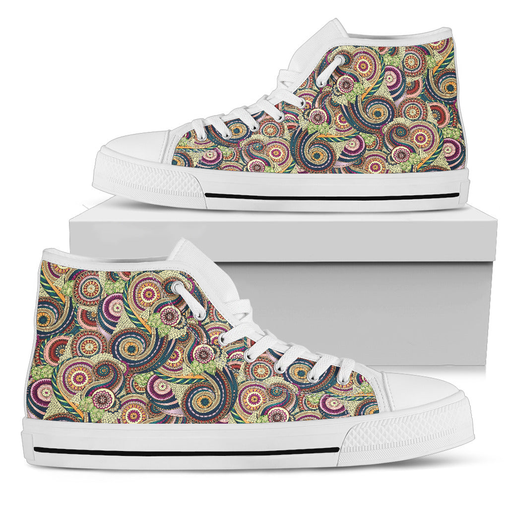 Womens Fractal Mandala Spiral High Top. - JaZazzy