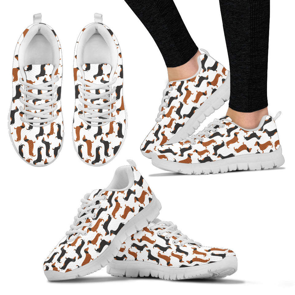 White sneakers with dachsunds white soles - JaZazzy