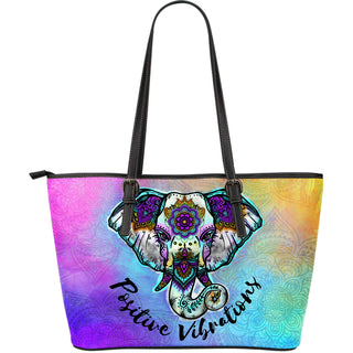 Positive Vibrations Large Leather Tote Bag