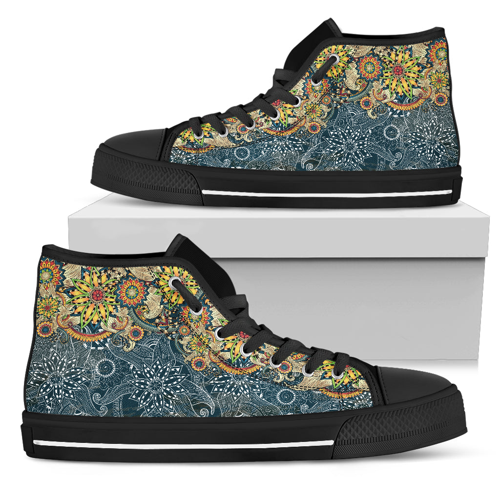 Womens Fractal Mandala Patterns High Top - JaZazzy