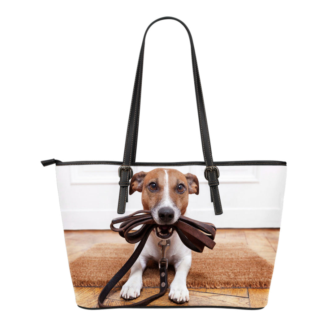 Jack Russell Dog Lovers Small Leather Tote - JaZazzy