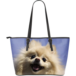 Pomeranian Dog Lovers Large Leather Handbag