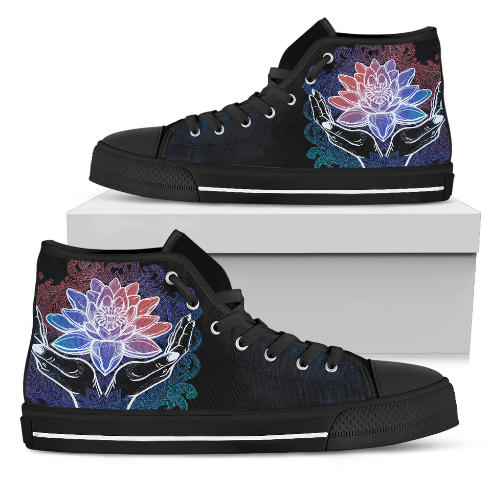 Womens Spiritual Lotus In Hand High Top - JaZazzy