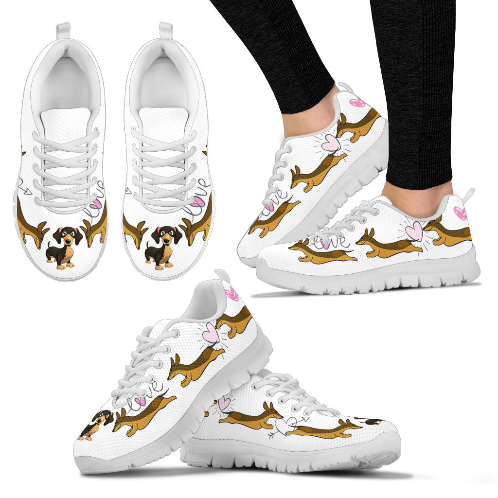 White sneakers with dachsunds and hearts - JaZazzy