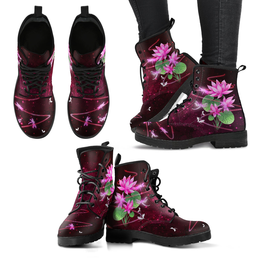 Dragonfly With Lotus Flower Handcrafted Boots V3 - JaZazzy