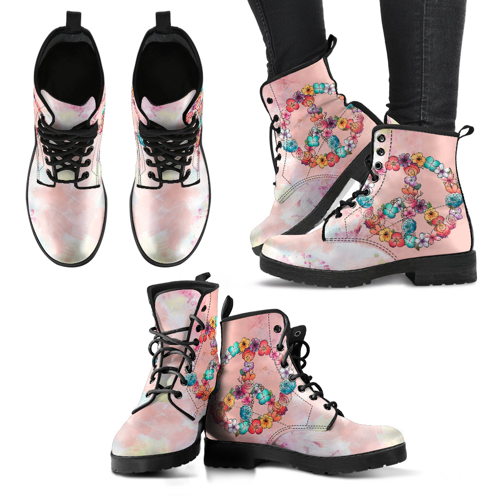 Floral Peace Handcrafted Boots - JaZazzy