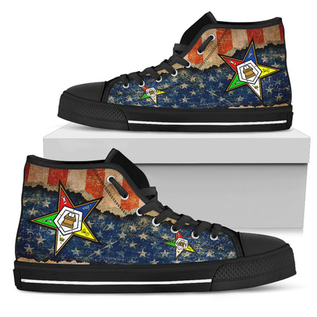 OES  Classic Womens High Top Ripped Flag Shoe - JaZazzy