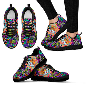 Womens Multi-Color Sun and Moon Sneakers - JaZazzy