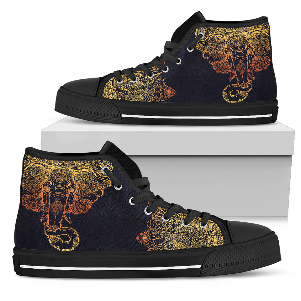 Womens Gold Elephant High Top - JaZazzy