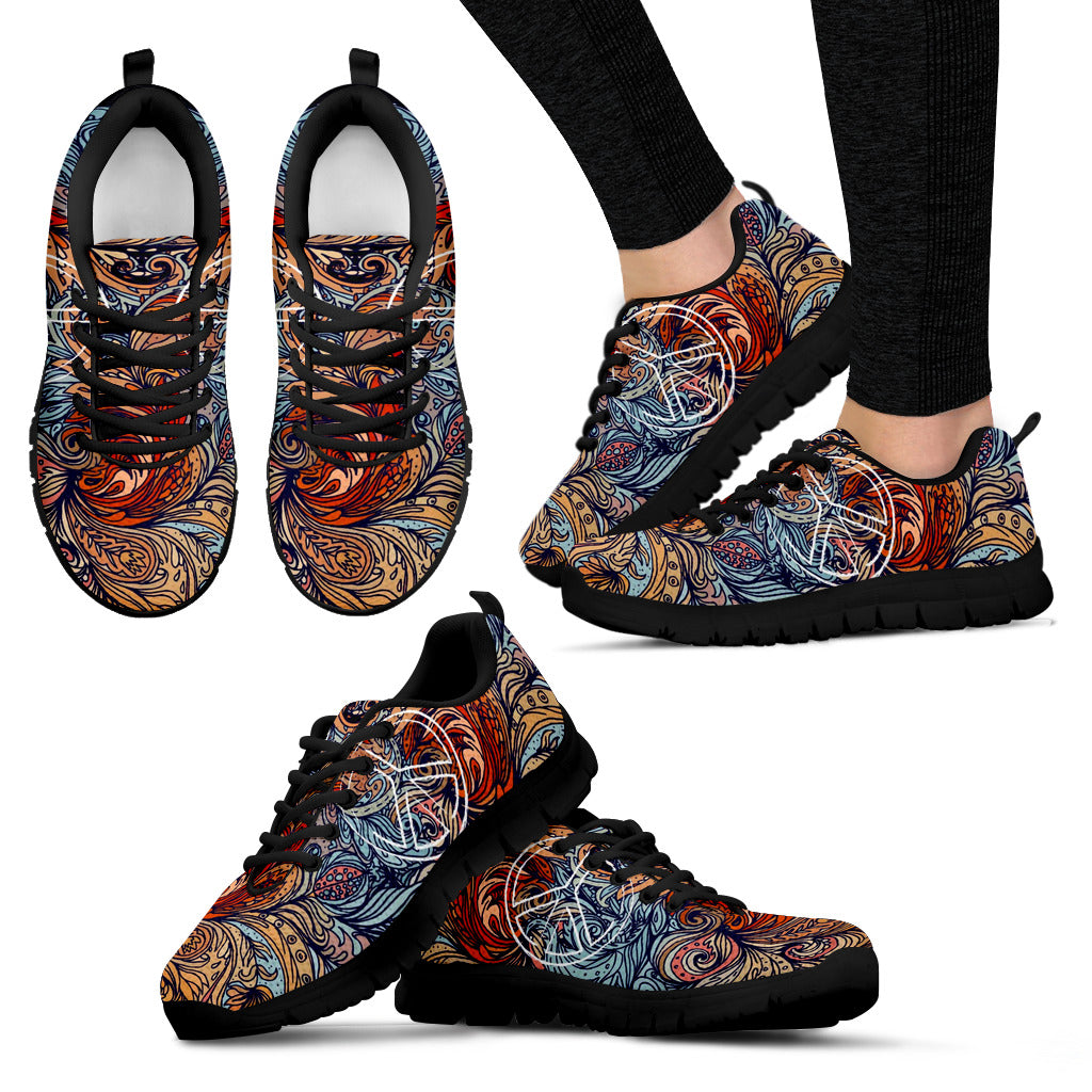 Colorful Peace sign Black Sole - JaZazzy