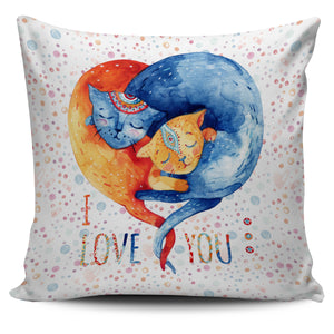 Cat Love Color Pillow Cover - JaZazzy