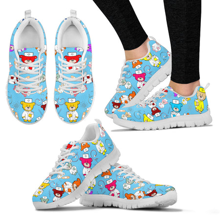 JZP Nurse Beary Sneakers-All Nurses-White - JaZazzy