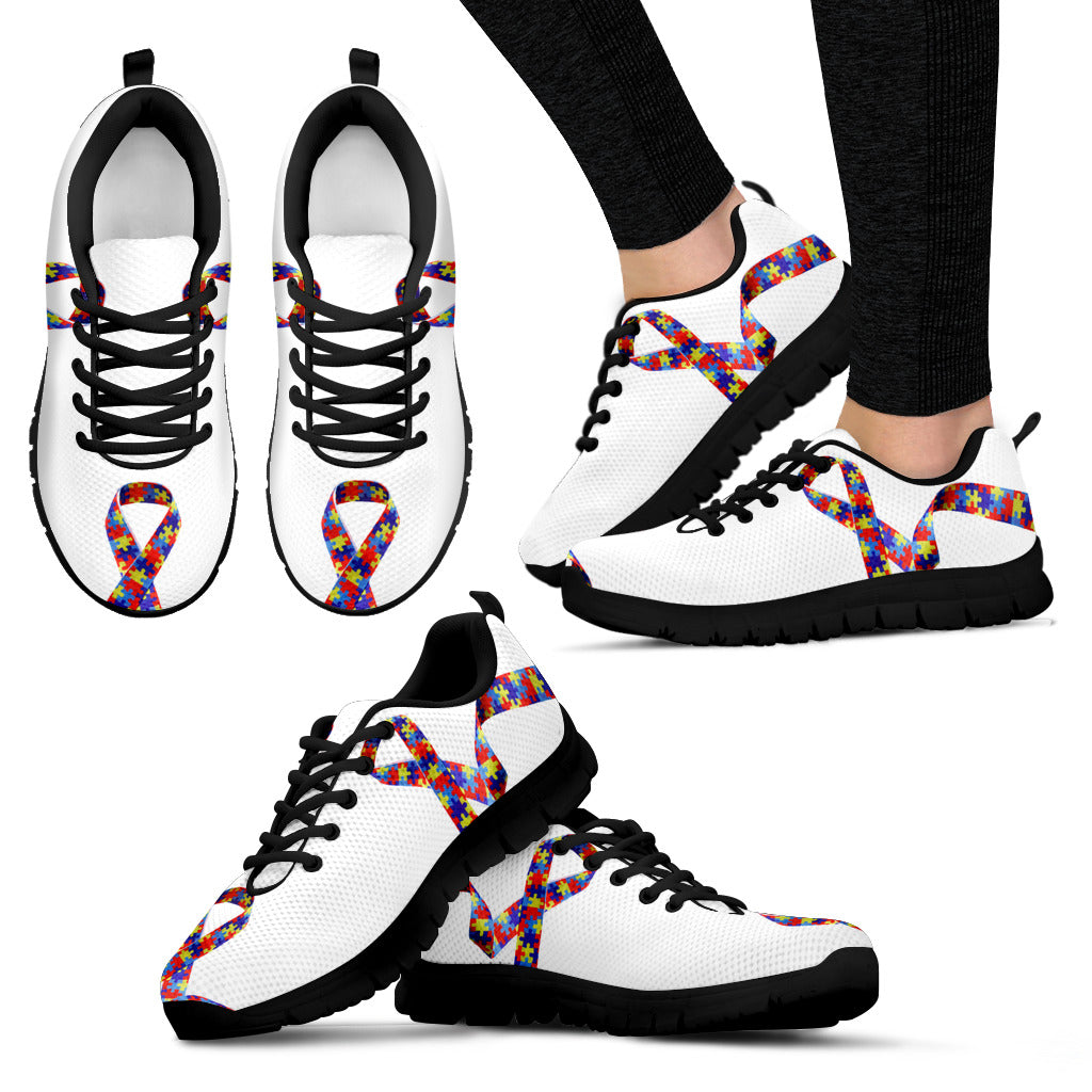 Womens Autism Awareness Ribbon Puzzle Sneakers - JaZazzy