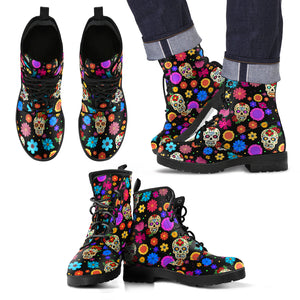 Sugar Skull Party Vegan Leather Boots for Men - JaZazzy