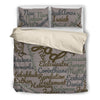Grey Holy Bible Books Beige Bedding Set - JaZazzy
