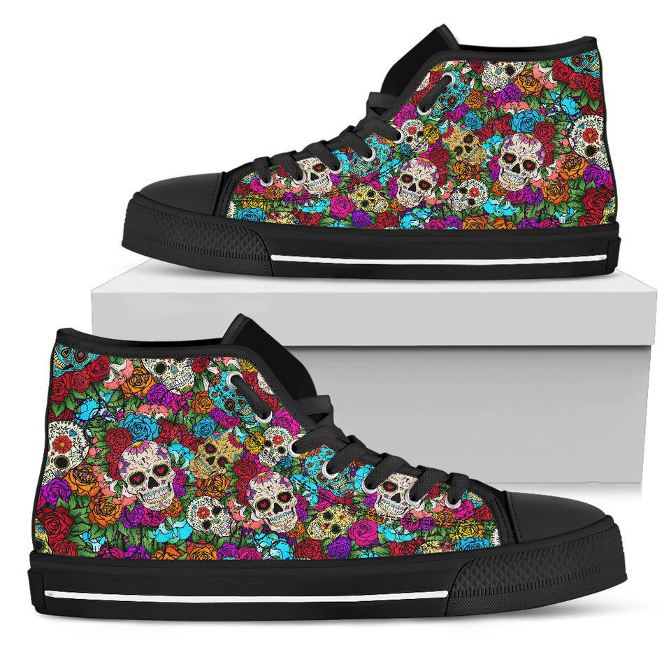 Sugar Skull Handcrafted High Tops. - JaZazzy