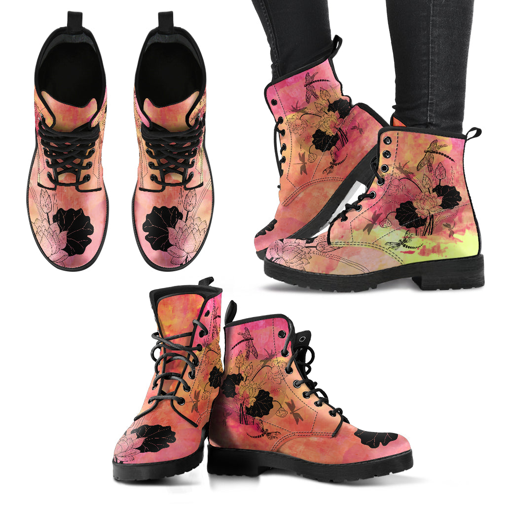 Dragonfly With Lotus Flower Handcrafted Boots S3 - JaZazzy
