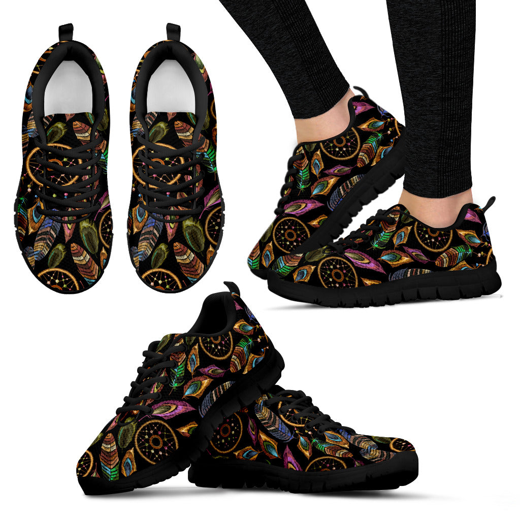 Boho Tribal Dream Catcher Feathers Sneakers - JaZazzy