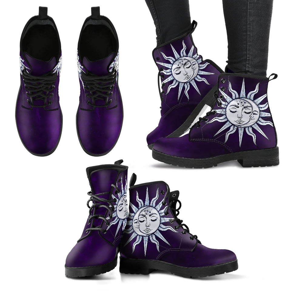 Dark Purple Handcrafted Peaceful Sun and Moon Boots - JaZazzy