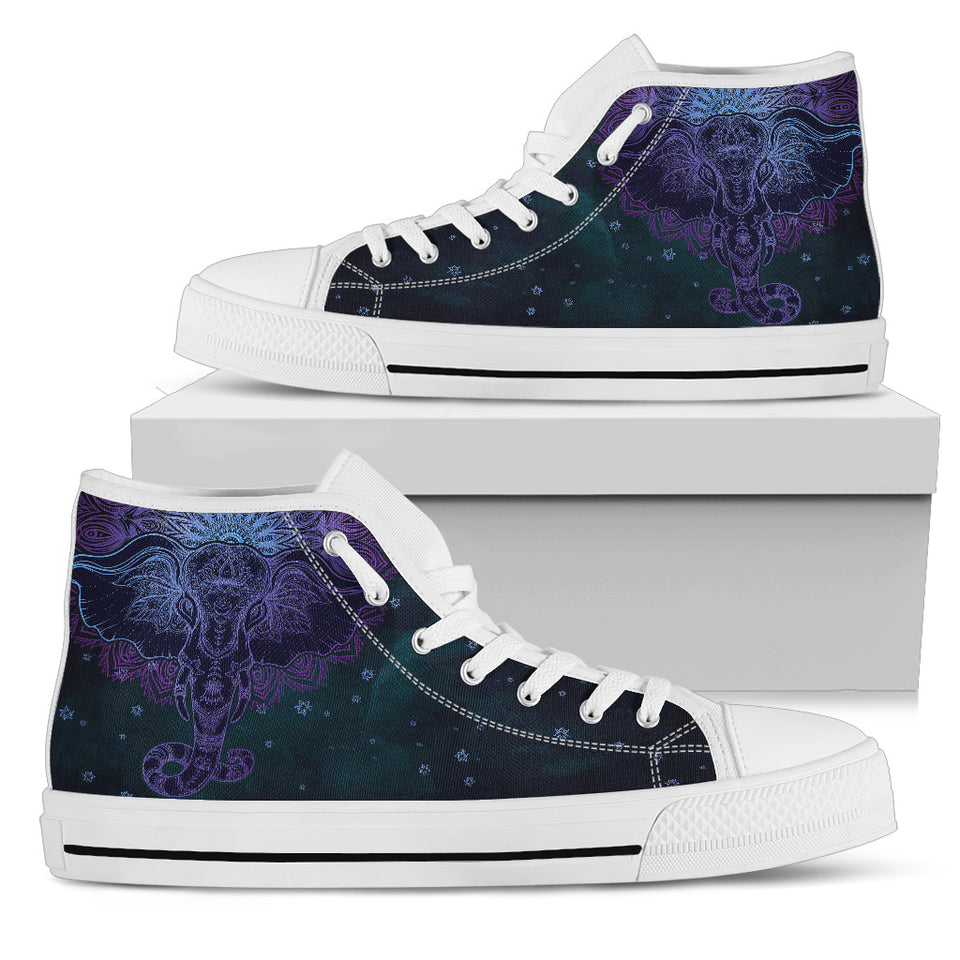 Womens Purple Mandala Elephant High Top. - JaZazzy
