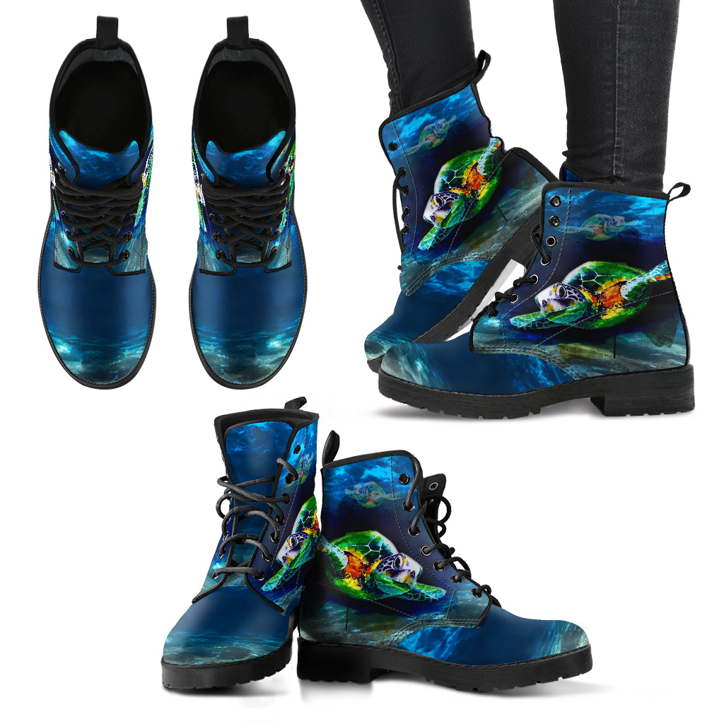 Sea Turtle Handcrafted Boots - JaZazzy