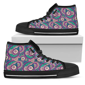 Womens Multi-Color Fractal Mandala High Top - JaZazzy