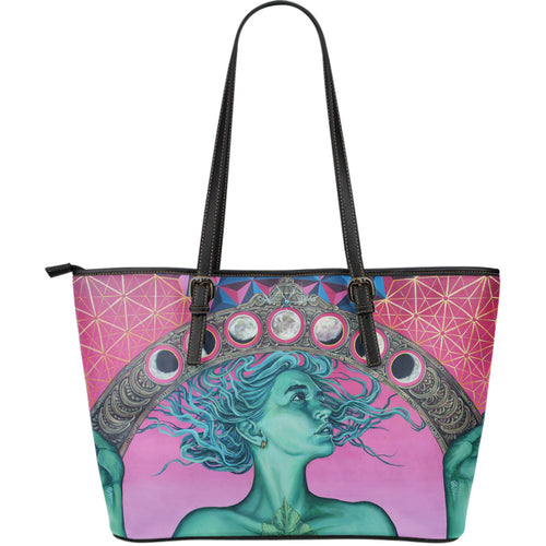 The Gate Of Knowledge - Large Leather Tote Bag - JaZazzy