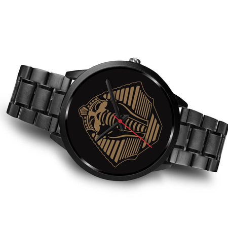 Alpha Phi Alpha inspired Pharaoh Head Watch-Black - JaZazzy