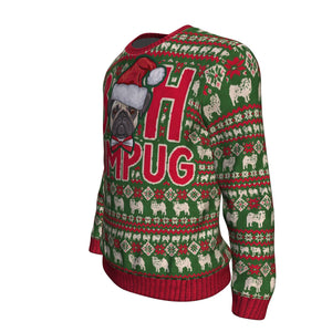 Bah Hum Pug Ugly Christmas Sweater-red/green/white - JaZazzy