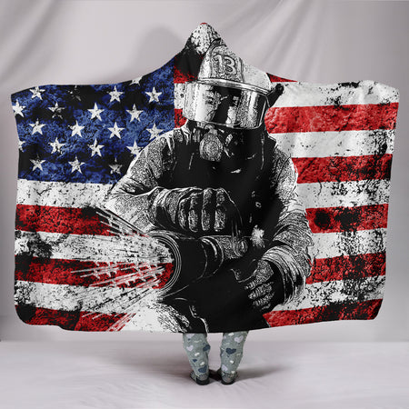 Firefighter Hooded Blanket - JaZazzy